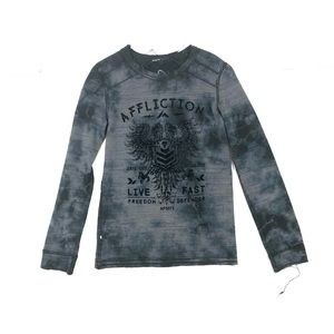 Affliction Long Sleeve Reversible Gray Tee